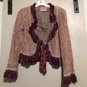 😍 Free People Lace Velvet Cropped Jacket Rare
